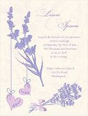Wedding Invitation Card.  Lavender Background.