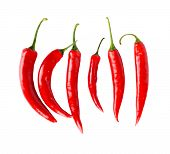 Top View Of Red Peppers Isolated White Background