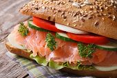 Tasty Lunch: Sandwich With Salmon And Vegetables
