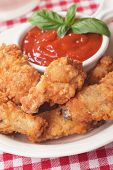 picture of southern fried chicken  - Southern fried chicken wings with barbecue sauce - JPG