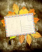 Grunge background with autumn leaves and old post card