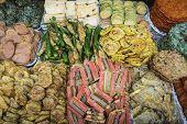 fried foods at gwangjang market in seoul, south korea
