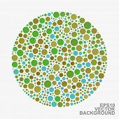 Colorful Dotted Abstract Background - Blue and Green Circles