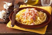 stock photo of carbonara  - italian pasta spaghetti carbonara - JPG