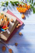 Pencils Books Concept Back School Autumn Fruit