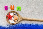 Word Sun Laid Sand Blue Board
