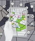 Vector map with tourist's pins