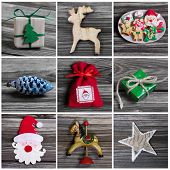 Collage Of Several Different Colorful Christmas Decoration On Wood.