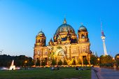 pic of dom  - Berlin Cathedral church Berliner Dom and TV tower Fernsehturm in Berlin - JPG