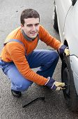 Tire Repairer Working