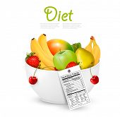 Bowl of healthy fruit with a nutrient label. Vector.
