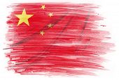 Chinese flag on plain background
