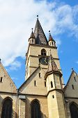 pic of sibiu  - Sibiu city Romania Lutheran Cathedral architecture detail - JPG