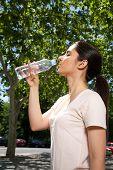 woman profile drinking water
