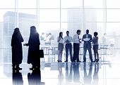 Multiethnic Group of Silhouette Business People in Meeting