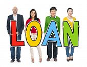 Multiethnic Group of People Holding Letter Loan