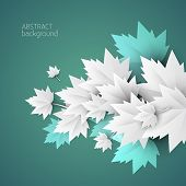 3d green leaves abstract background - vector