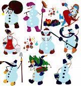 Cartoon Snowman Set And Presents