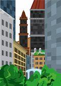 Cartoon Tall Buildings Near Green Bushes
