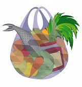 Plastic Transparent Shopping Bag Full Of Fruits Vegetables And Fish