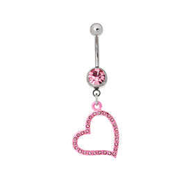 pic of pierced belly button  - Silver piercing in the shape of heart - JPG