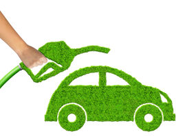 image of fuel economy  - eco car and  gasoline fuel on white background  - JPG