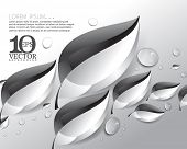 eps10 vector overlapping metallic conceptual leaves with dew drops elements background illustration