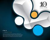 eps10 vector cartoon style metallic elements and geometric round shapes background illustration
