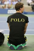 Ball boy on tennis court at the Billie Jean King National Tennis Center during US Open 2014