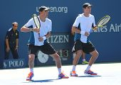 Grand Slam champions Mike and Bob Bryan during US Open 2014 semifinal doubles match