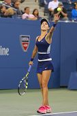 Professional tennis player Eugenie Bouchard during third round march at US Open 2014