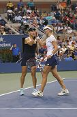 US Open 2014 women doubles champions Ekaterina Makarova and Elena Vesnina during final match
