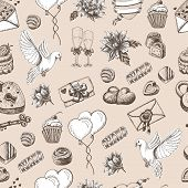 Vector seamless pattern with hand drawn wedding elements