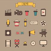 Set of movie design elements and cinema icons in doodle style. Vector illustration.