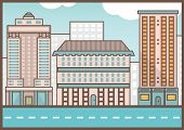 Flat Illustration Of Street Landscape. Homes And Road