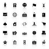 Business Start Up Icons With Reflect On White Background