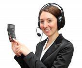 Telephone operator with calculator