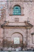 facade details of Iglesia del Triunfo in the peruvian Andes at Cuzco Peru