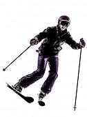 one  woman skier skiing in silhouette on white background