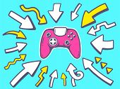 Illustration Of Arrows Point To Icon Of Joystick On Blue Background.