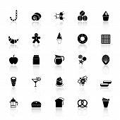 Sweet Food Icons With Reflect On White Background