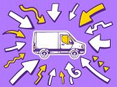 Illustration Of Arrows Point To Icon Of  Van On Purple Background.