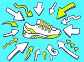 Illustration Of Arrows Point To Icon Of  Sneaker On Blue Background.