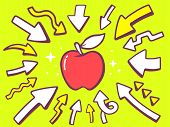 Illustration Of Arrows Point To Icon Of  Red Apple On Green Background.