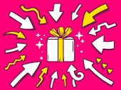 Illustration Of Arrows Point To Icon Of Gift Box On Pink Background.