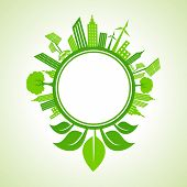 Ecology concept -eco cityscape with leaf around the circle stock vector
