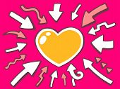 Illustration Of Arrows Point To Icon Of Heart On Pink Background.