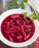 Beetroot Soup With Potatoes, Cabbage And Sour Cream.