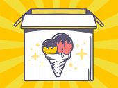 Illustration Of Open Box With Icon Of  Ice Cream On Yellow Pattern Background.