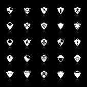 Design Shield Icons With Reflect On Black Background